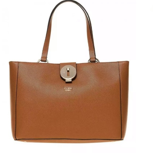 Guess Handbags - Guess Lock Large Cognac Faux Leather Tote